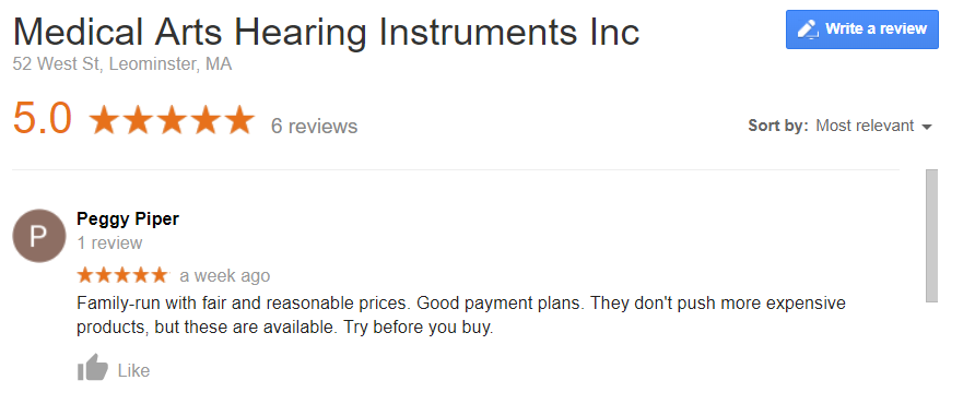 S9098 Medical Ars Hearing Instrument_Google Review_Peggy P