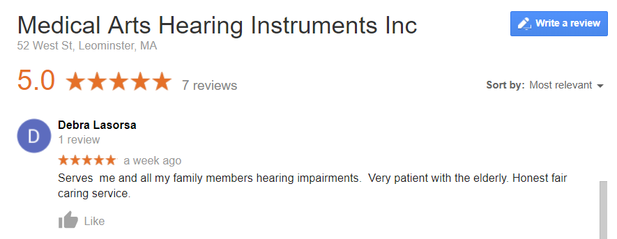 S9098 Medical Ars Hearing Instrument_Google Review_Debra L